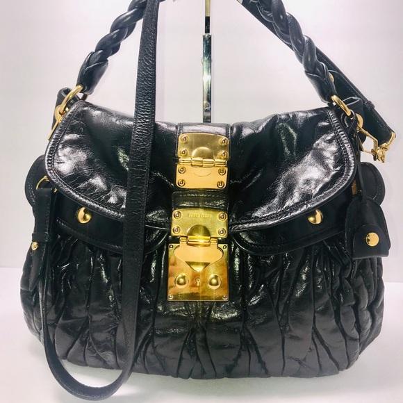 aacd253c1272 Authentic Miu Miu Matelasse Black Shoulder Bag. M 5bb6ea821e2d2d18e7649feb